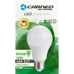 CARNEO LED E27, 12W, A60, 1050LM, Teplá biela